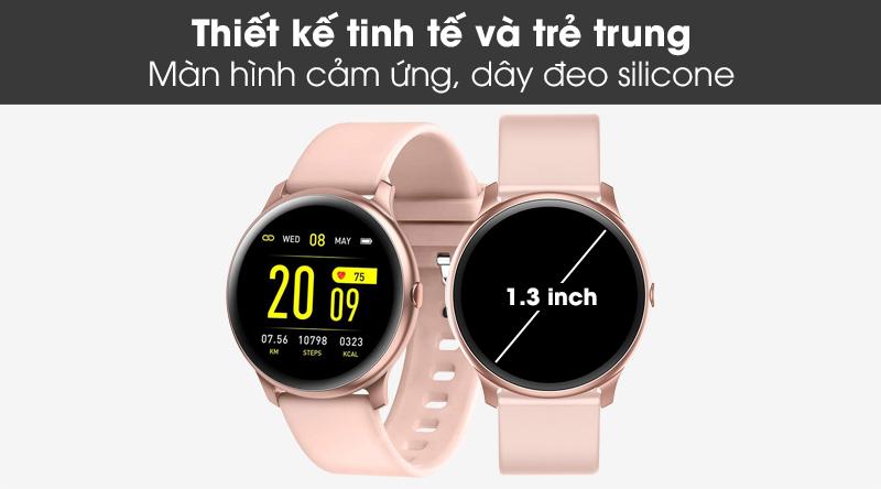 Đồng hồ thông minh BeU Fit KW19 hồng với kiểu dáng thể thao, năng động
