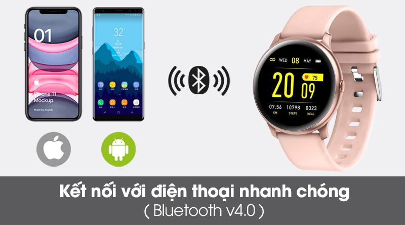 Đồng hồ thông minh BeU Fit KW19 hồng kết nối qua sóng bluetooth