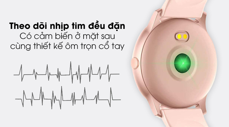 Đồng hồ thông minh BeU Fit KW19 hồng trang bị tính năng đo nhịp tim