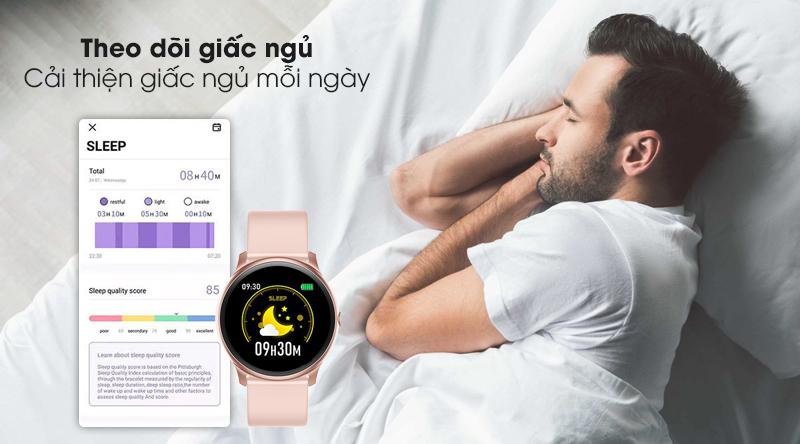 Đồng hồ thông minh BeU Fit KW19 hồng trang bị tính năng theo dõi giấc ngủ