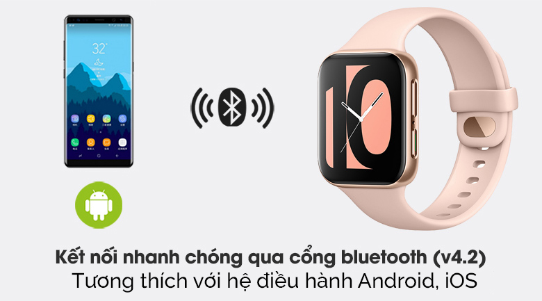 Đồng hồ Oppo Watch 41mm dây silicone hồng kết nối thiết bị qua sóng bluetooth