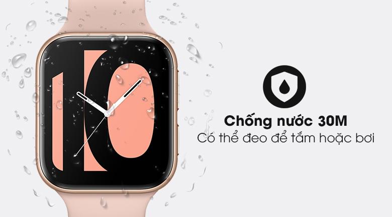 Đồng hồ Oppo Watch 41mm dây silicone hồng với khả năng chống nước 30m