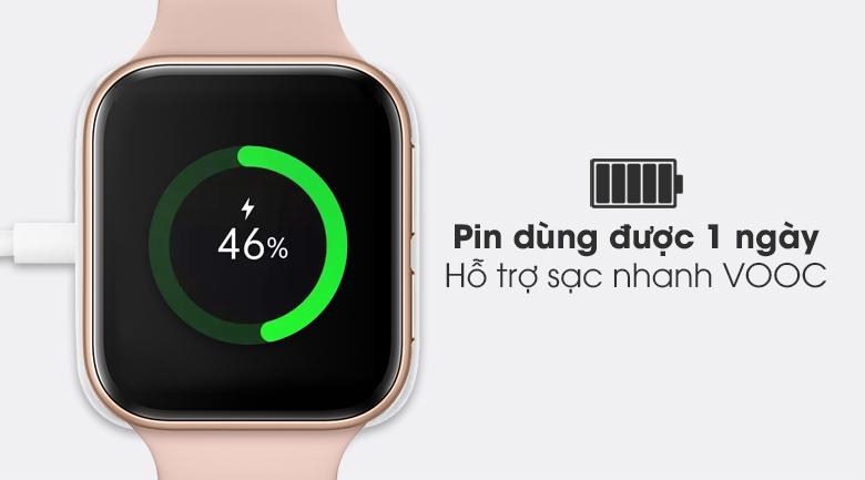 Đồng hồ Oppo Watch 41mm dây silicone hồng có viên pin dùng được khoảng 1 ngày