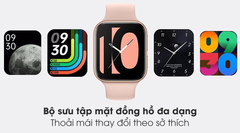 Đồng hồ Oppo Watch 41mm dây silicone hồng tích hợp rất nhiều mặt đồng hồ phong cách