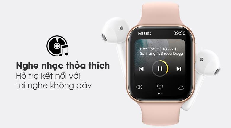 Đồng hồ Oppo Watch 41mm dây silicone hồng mang đến nhiều trải nghiệm về âm nhạc