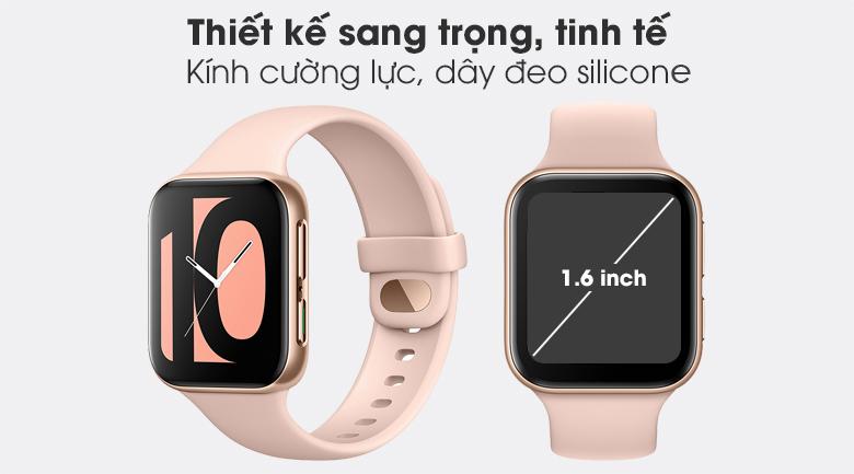 Đồng hồ Oppo Watch 41mm dây silicone hồng có thiết kế đơn giản, sang trọng