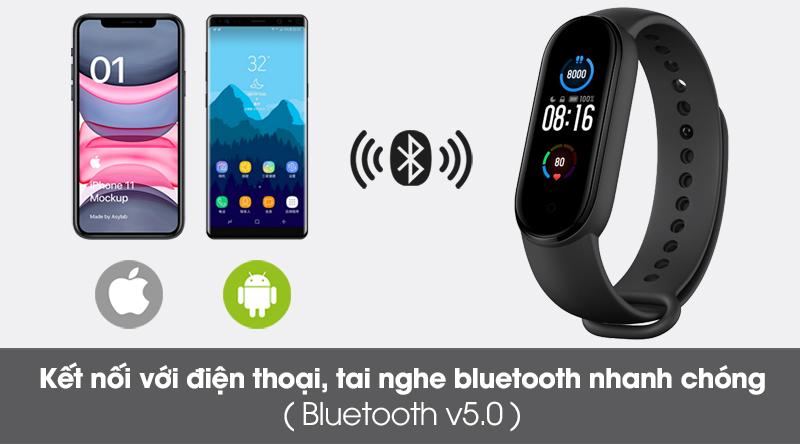 Vòng đeo tay thông minh Mi Band 5 kết nối các thiết bị qua cổng bluetooth