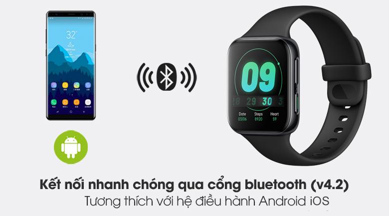 Đồng hồ Oppo Watch 41mm dây silicone đen kết nối với các thiết bị nhanh chóng