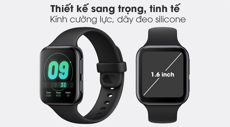 Đồng hồ Oppo Watch 41mm dây silicone đen mang kiểu dáng sang trọng, đơn giản