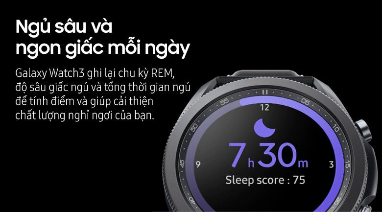 Đồng hồ thông minh Samsung Galaxy Watch 3 45mm viền thép dây da | Theo dõi giấc ngủ