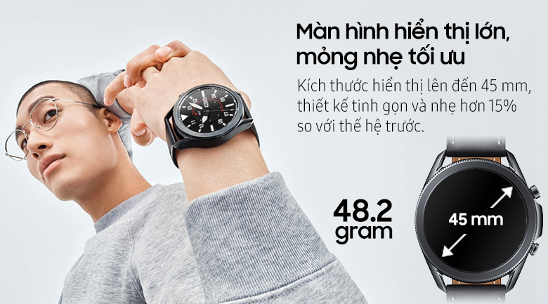 Đồng hồ thông minh Samsung Galaxy Watch 3 45mm viền thép dây da | Kích thước