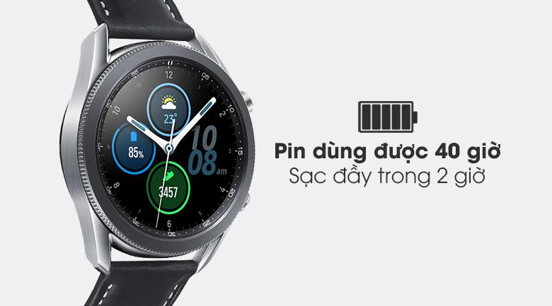 Đồng hồ Samsung Galaxy Watch 3 41mm dùng được 40 tiếng trong một lần sạc