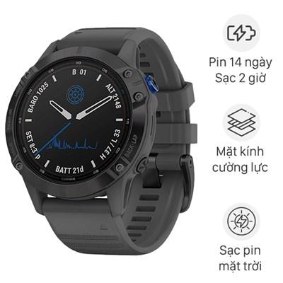 Đồng hồ thông minh Garmin Fenix 6 Pro Solar dây silicone
