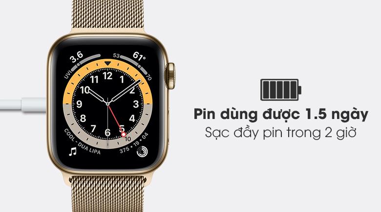 Apple Watch S6 LTE 40mm viền thép dây thép có pin sử dụng được 1,5 ngày