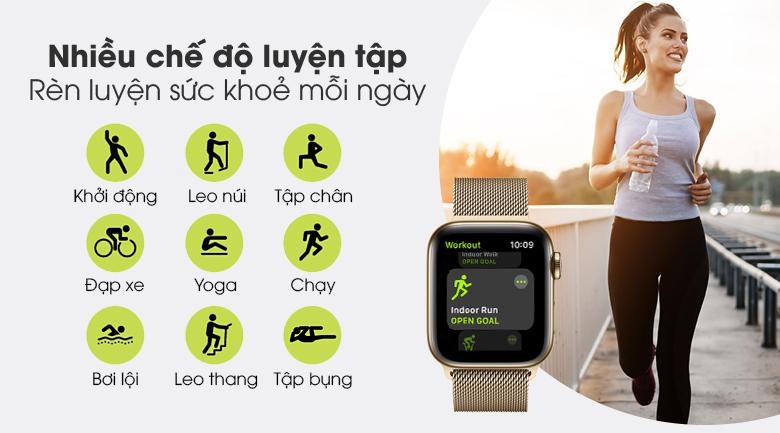 Apple Watch S6 LTE 40mm viền thép dây thép có nhiều chế độ luyện tập thể thao