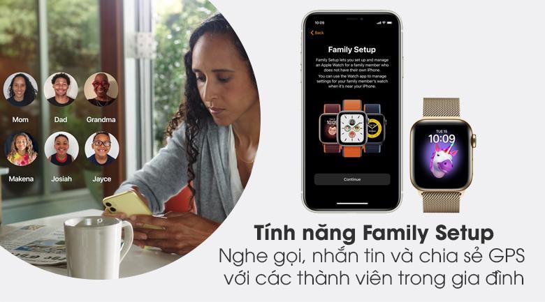 Apple Watch S6 LTE 40mm viền thép dây thép được trang bị tính năng Family Setup