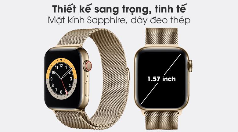 Apple Watch S6 LTE 40mm viền thép dây thép có thiết kế sang trọng