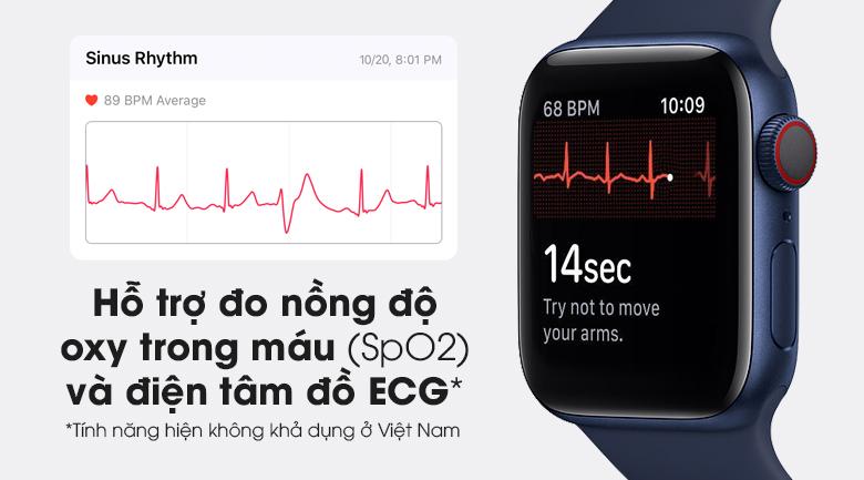 Apple Watch S6 LTE 40mm viền nhôm dây cao su có hỗ trợ cảm biến SpO2 giúp đo nồng độ oxy trong máu
