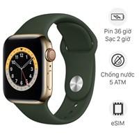 Apple Watch S6 LTE 40mm viền thép dây cao su xanh lá