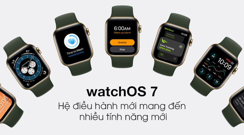Apple Watch S6 LTE 40mm viền thép dây cao su với hệ điều hành WatchOS7