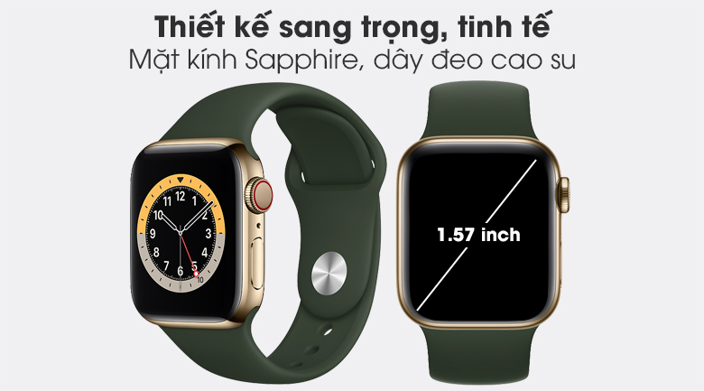 Apple Watch S6 LTE 40mm viền thép dây cao su mang thiết kế sang trọng