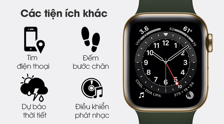 Apple Watch S6 LTE 40mm viền thép dây cao su vơi nhiều tiện ích khác