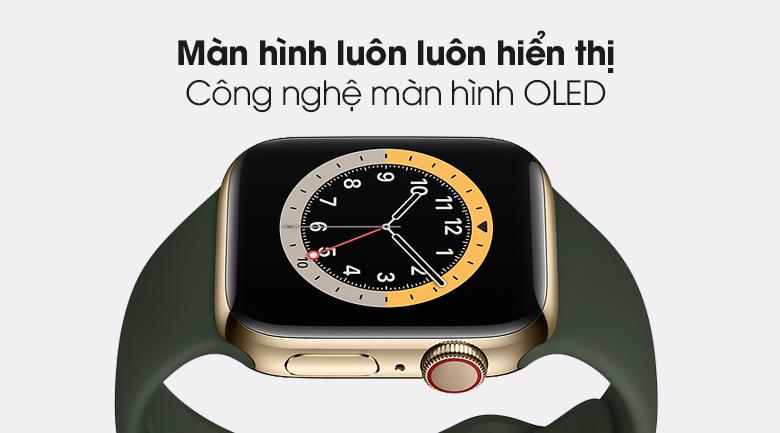 Apple Watch S6 LTE 40mm viền thép dây cao su với màn hình OLED