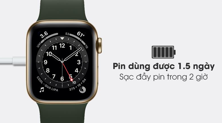 Apple Watch S6 LTE 40mm viền thép dây cao su có dung lượng pin tốt