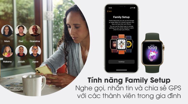 Apple Watch S6 LTE 40mm viền thép dây cao su có tính năng Family Setup