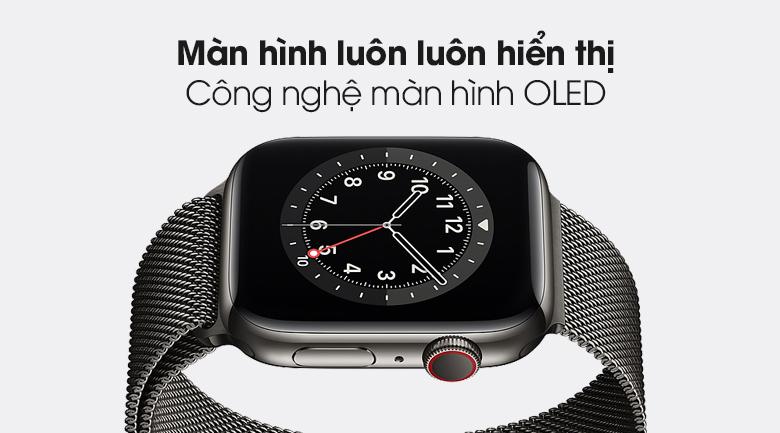 Apple Watch S6 LTE 44mm viền thép dây thép có màn hình OLED