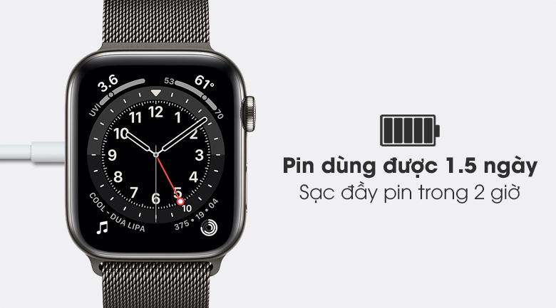 Apple Watch S6 LTE 44mm viền thép dây thép chỉ mất 2 giờ sạc pin