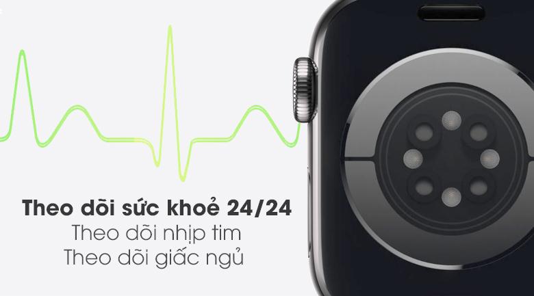 Apple Watch S6 LTE 44mm viền thép dây thép giúp theo dõi sức khỏe của bạn