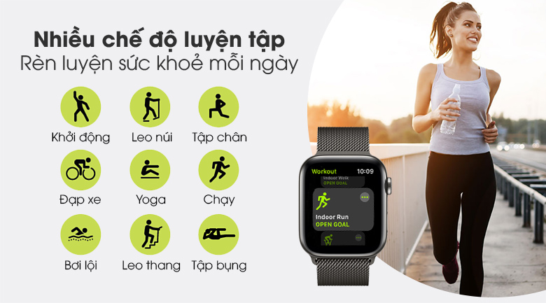 Apple Watch S6 LTE 44mm viền thép dây thép với nhiều chế độ luyện tập