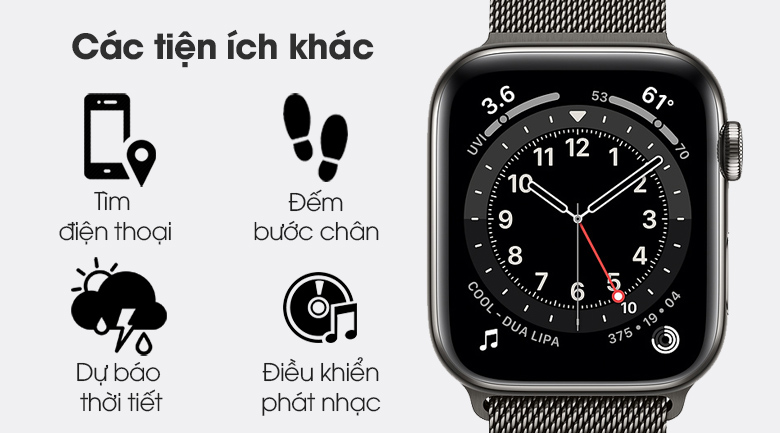 Apple Watch S6 LTE 44mm viền thép dây thép có thêm nhiều tiện ích khác