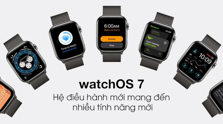 Apple Watch S6 LTE 44mm viền thép dây thép có hệ điều hành WatchOS 7