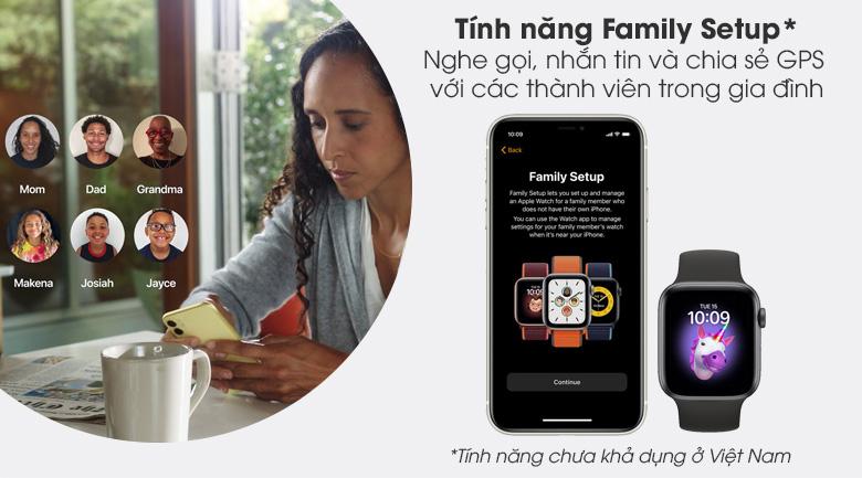 Apple Watch S6 LTE 44mm viền nhôm dây cao su có tính năng Family Setup