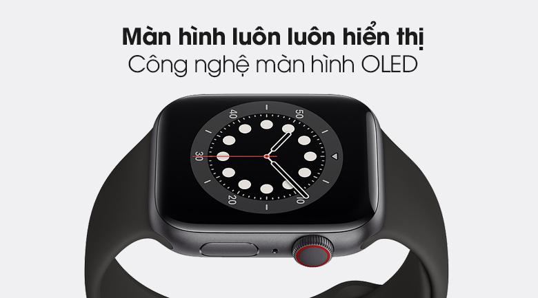 Apple Watch S6 LTE 44mm viền nhôm dây cao su có màn hình luôn hiển thị