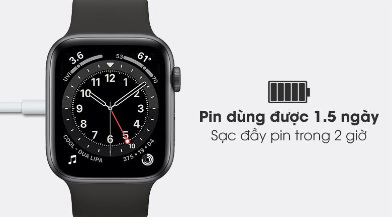 Apple Watch S6 LTE 44mm viền nhôm dây cao su chỉ mất 2 giờ để sạc đầy pin