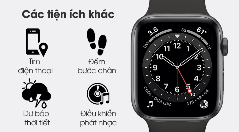 Apple Watch S6 LTE 44mm viền nhôm dây cao su với nhiều tính năng tiện lợi khác