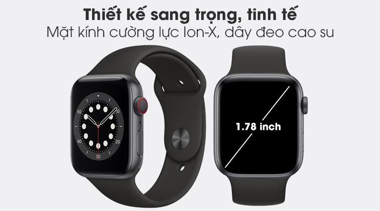 Apple Watch S6 LTE 44mm viền nhôm dây cao su có thiết kế thời thượng