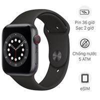 Apple Watch S6 LTE 44mm viền nhôm dây cao su đen