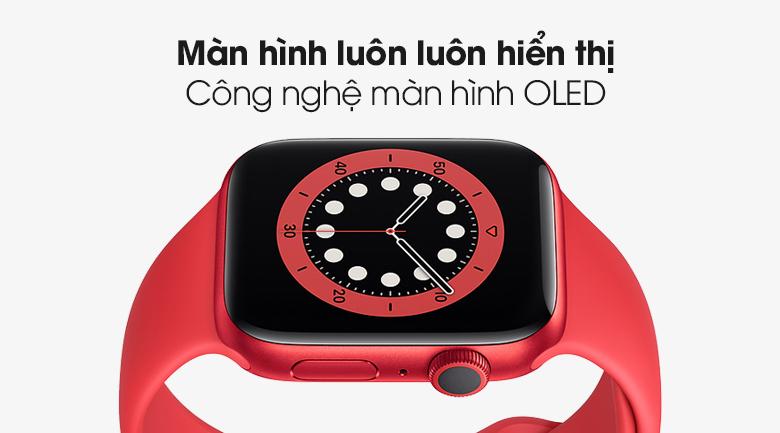 Apple Watch S6 40mm viền nhôm dây cao su (RED) sở hữu màn hình OLED luôn luôn hiển thị, sắc nét đạt chuẩn Retina