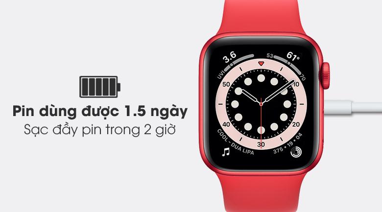 Apple Watch S6 40mm viền nhôm dây cao su (RED) có pin dung lượng lớn, sạc đầy nhanh chóng