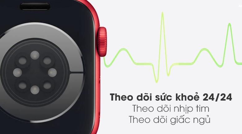Apple Watch S6 40mm viền nhôm dây cao su (RED) có tính năng đo nhịp tim, theo dõi giấc ngủ