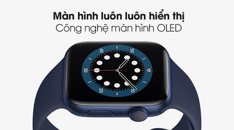 Apple Watch S6 44mm viền nhôm dây cao su có màn hình sắc nét