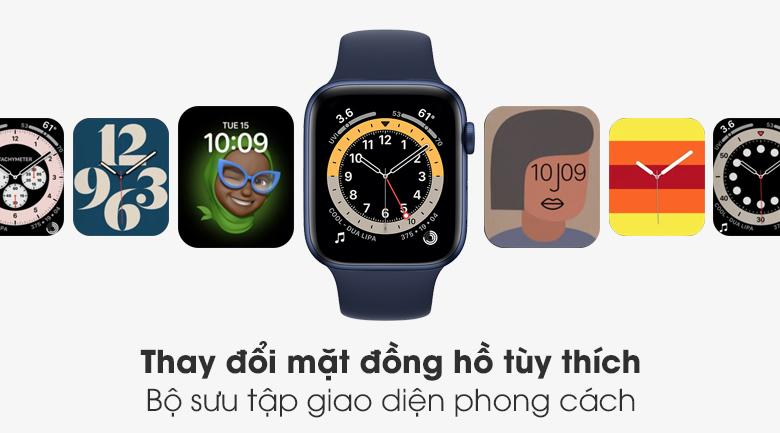 Apple Watch S6 44mm viền nhôm dây cao su dễ dàng thay mặt đồng hồ