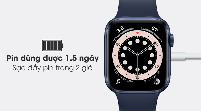 Apple Watch S6 44mm viền nhôm dây cao su với thời lượng pin được cải thiện