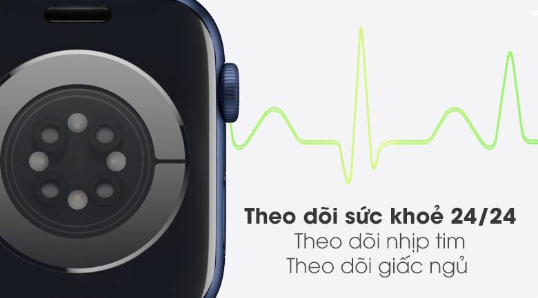 Apple Watch S6 44mm viền nhôm dây cao su hỗ trợ theo dõi sức khỏe người dùng