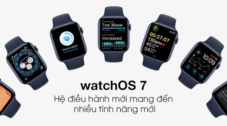 Apple Watch S6 44mm viền nhôm dây cao su với hệ điều hành hiện đại