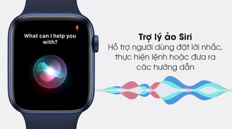 Apple Watch S6 44mm viền nhôm dây cao su được hỗ trợ bởi trợ lý ảo siri